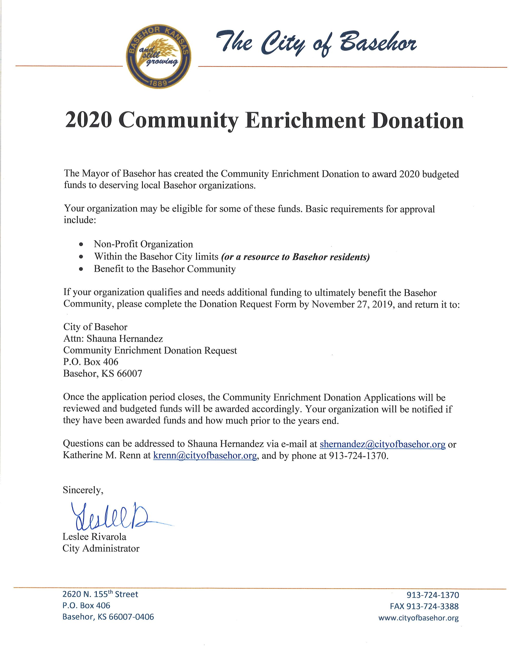 2020 Community Enrichment Donation Announcemt